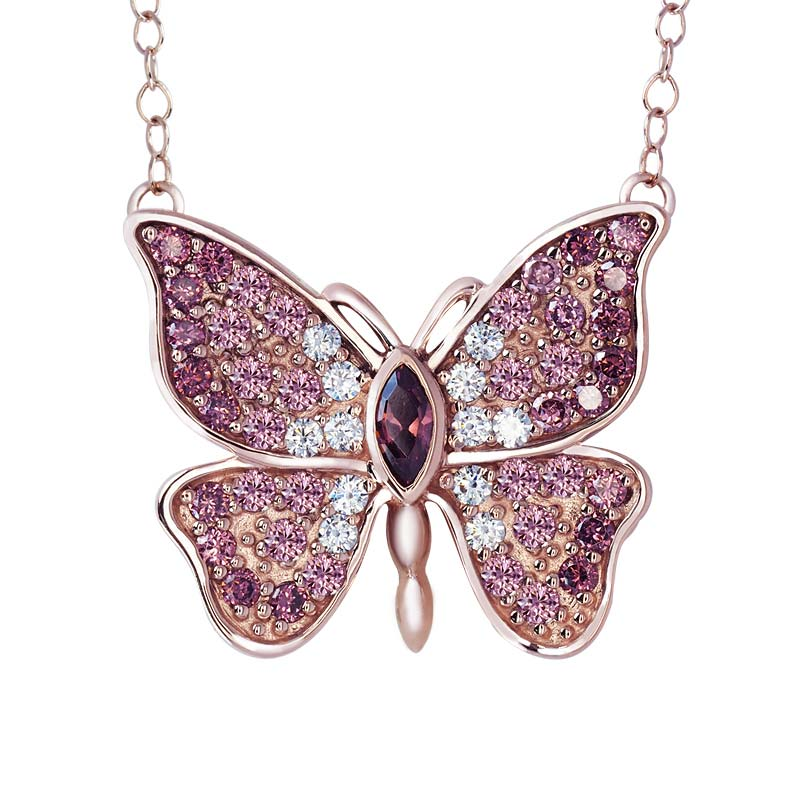 rose gold Sterling Silver Butterfly necklace with CZ rhodolite RSN-0031