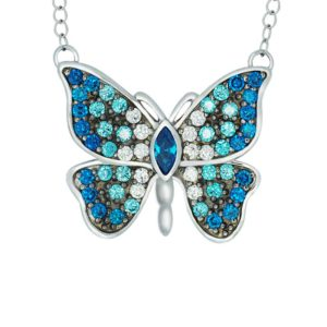 Sterling Silver Butterfly necklace with Blue and White CZ accents