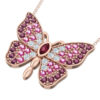 Rose Gold Butterfly necklace with Rhodolite CZ
