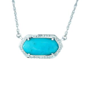 Gorgeous Silver necklace set with Arizona Stabilized Turquoise in center and Swarovski Crystals