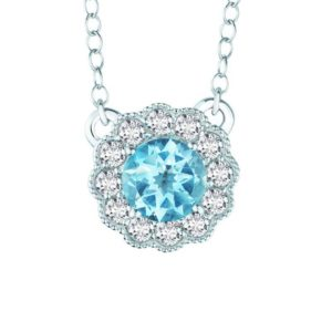 925 Sterling Silver necklace with Sky Blue Topaz and White Topaz