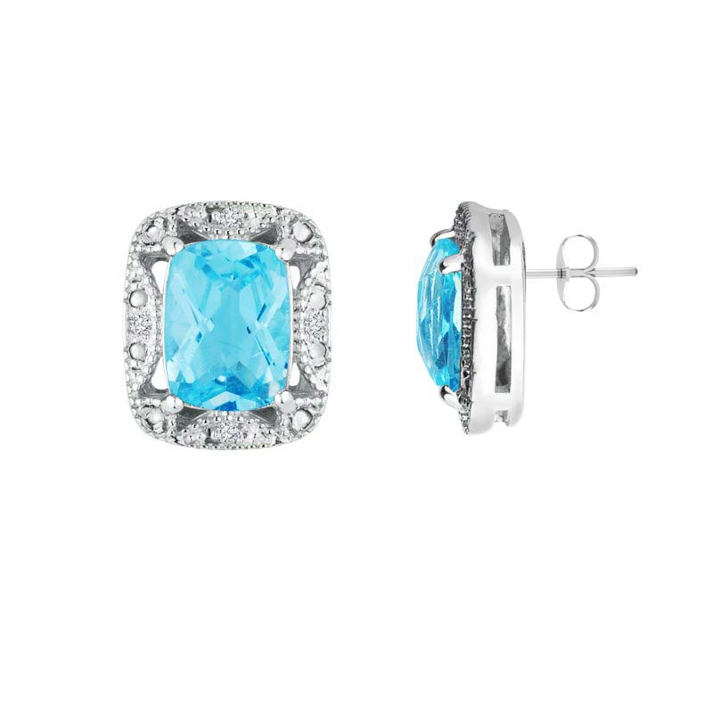 Swoon over the look of Swiss Blue Topaz earrings with Diamonds RSE 0087