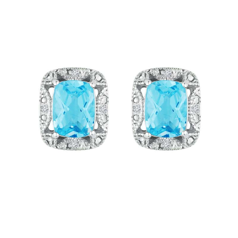 Swoon over the look of Swiss Blue Topaz earrings with Diamonds RSE-0087-T
