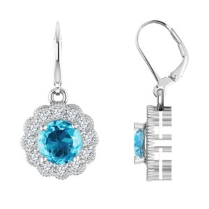 Stunning, sparkling drop earrings with Sky Blue and White Topaz RSE-0187-T