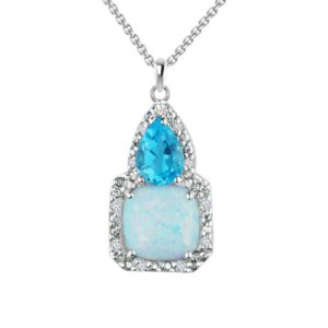 Three-stone pendant with cushion shaped Created Opal, pear-shaped Blue Topaz and Diamond RSP-0329