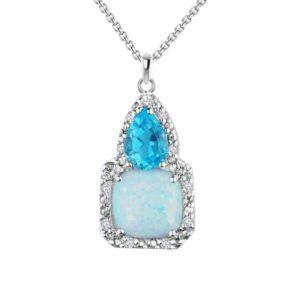 Three-stone pendant with cushion shaped Created Opal, pear-shaped Blue Topaz and Diamond RSP-0329
