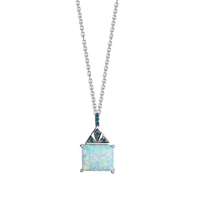 Fire pendant with Created Opal and London Blue Topaz