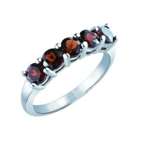 Stacking ring set five gorgeous oval-shaped Garnet