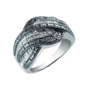 Sparkling Black and White Cubic Zirconia ring