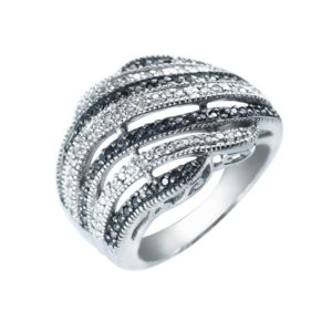 Black and White CZ cocktail ring for dramatic affect