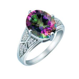 Elegant and sparkling Mystic Topaz ring with White Sapphire