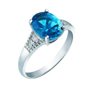 Oval-Shaped Swiss Blue Topaz ring with London Blue Topaz on side