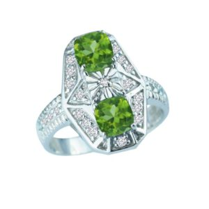 Tri-stone ring with Peridot, White Sapphires and Diamonds