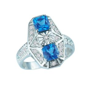 Tri-stone ring with London & Swiss Blue Topaz and Diamonds