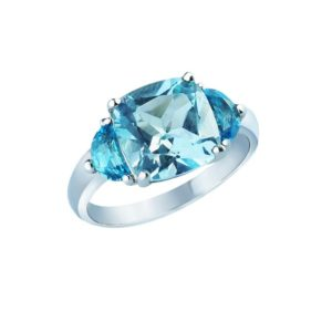 Beautifully handcrafted London Blue Topaz and moon cut Swiss Blue Topaz ring