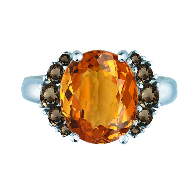 Fall-in-love ring with Citrine and Smoky Quartz