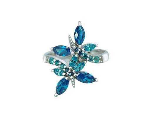 butterfly ring with Aquamarine CZ