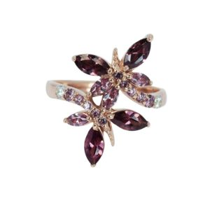 Rose Gold plated butterfly ring with rhodolite CZ