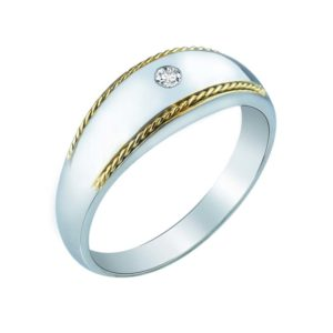 Sleek Sterling Silver women's ring in 14K and Diamond