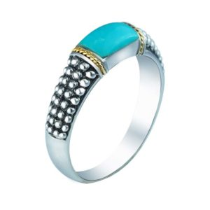 14K Gold and Sterling Silver ring with Arizona Turquoise