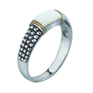 14K Gold and Sterling Silver ring with Mother of Pearls