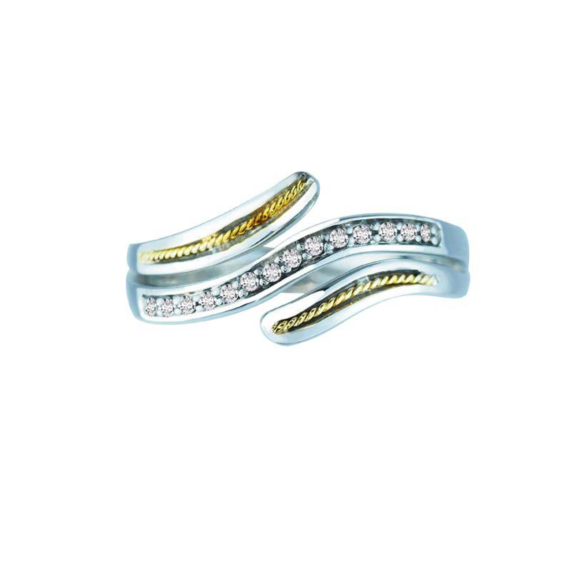 Swirly Sterling Silver and 14K Gold ring with Swarovski Crystals