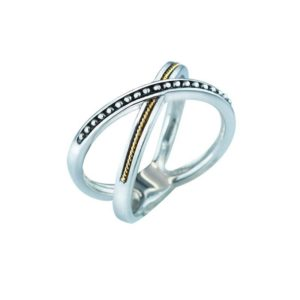 Beaded Criss Cross Sterling Silver and 14K Gold ring