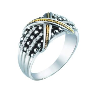 Bold and beautiful ring accented with gold and swarovski RSR-0443-T