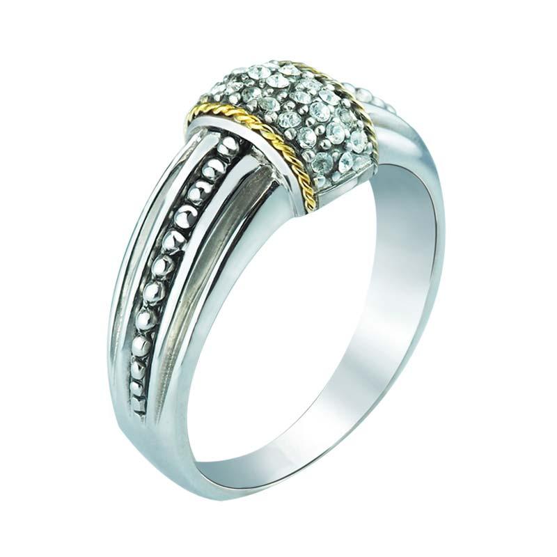 Swarovski Studded Sterling Silver and 14K Gold women's ring