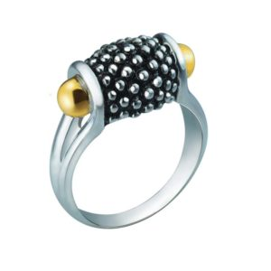 Suave ring with Swarovski in silver and 14K Gold