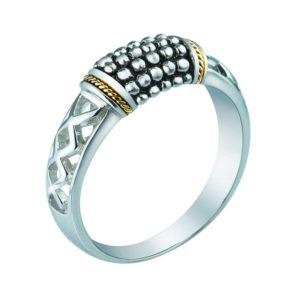 Slim look 925 Sterling Silver and 14K Gold Beaded ring for women