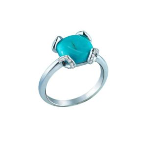 Elegant ring with Turquoise in center and diamond-studded prongs