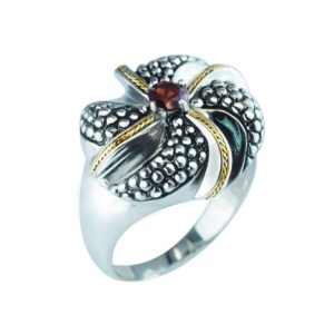Vintage 14K Gold and 925 Sterling Silver ring with 5mm Round Garnet