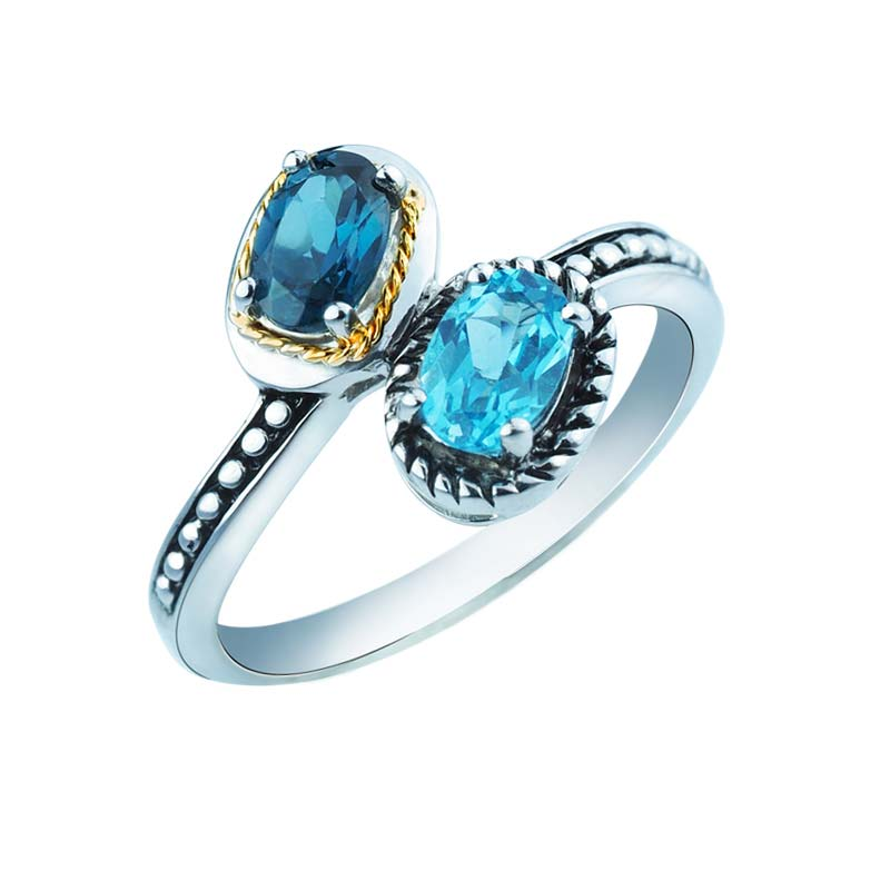 925 Sterling Silver and 14K Gold Ring with Swiss and London Blue Topaz