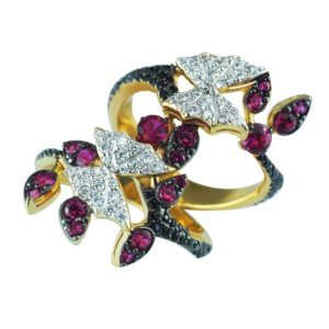 Gorgeous butterfly ring with white, black and pink CZ orgeous butterfly ring with white, black and pink CZ RSR-0463