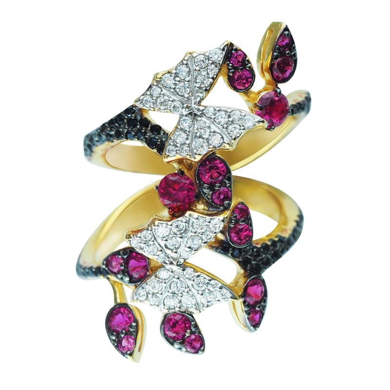 Gorgeous butterfly ring with white, black and pink CZ orgeous butterfly ring with white, black and pink CZ RSR-0463-T