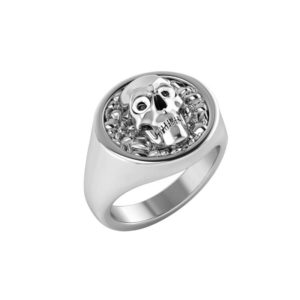 Skull and a smooth band ring for men's
