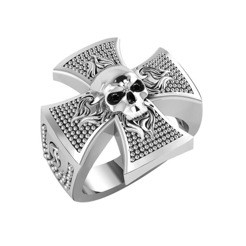 Men's ring featuring skull on a Celtic cross RSR-0468
