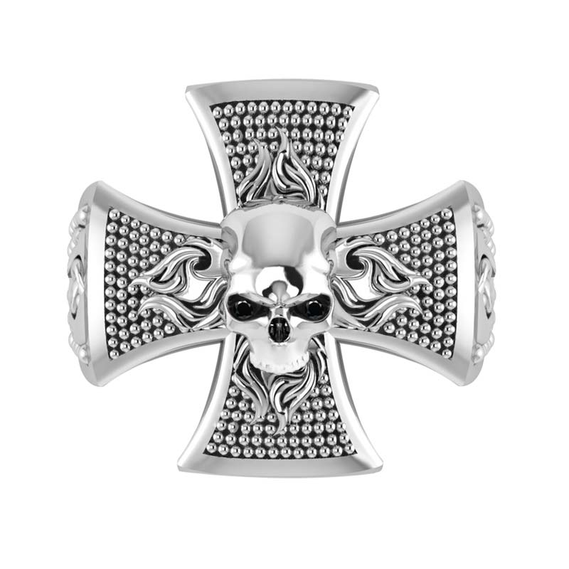 Men's ring featuring skull on a Celtic cross RSR-0468