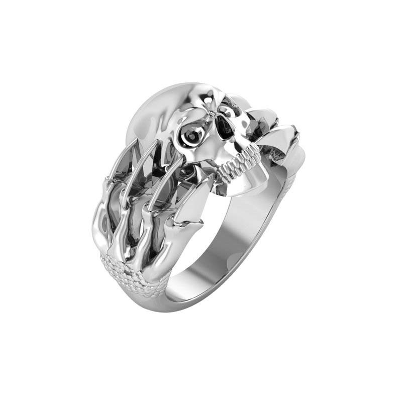 Unique and detailed skull featured on men's ring