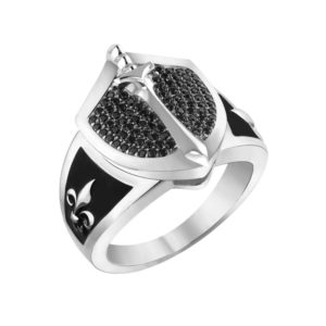 Knight Shield Emblem Ring with Black Spinel & Black Enamel in Solid Sterling Silver