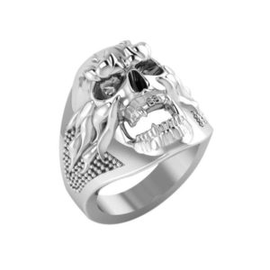 Detailed silver skull ring for men with sharp teeth & flames