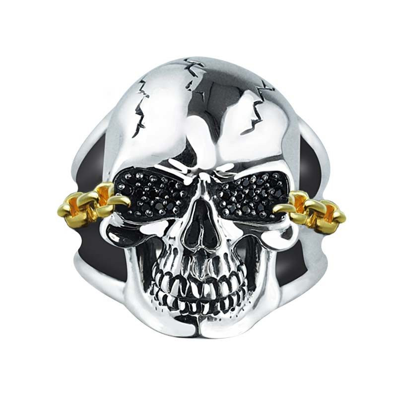 Cool statement ring for men with detailed skull RSR-0479