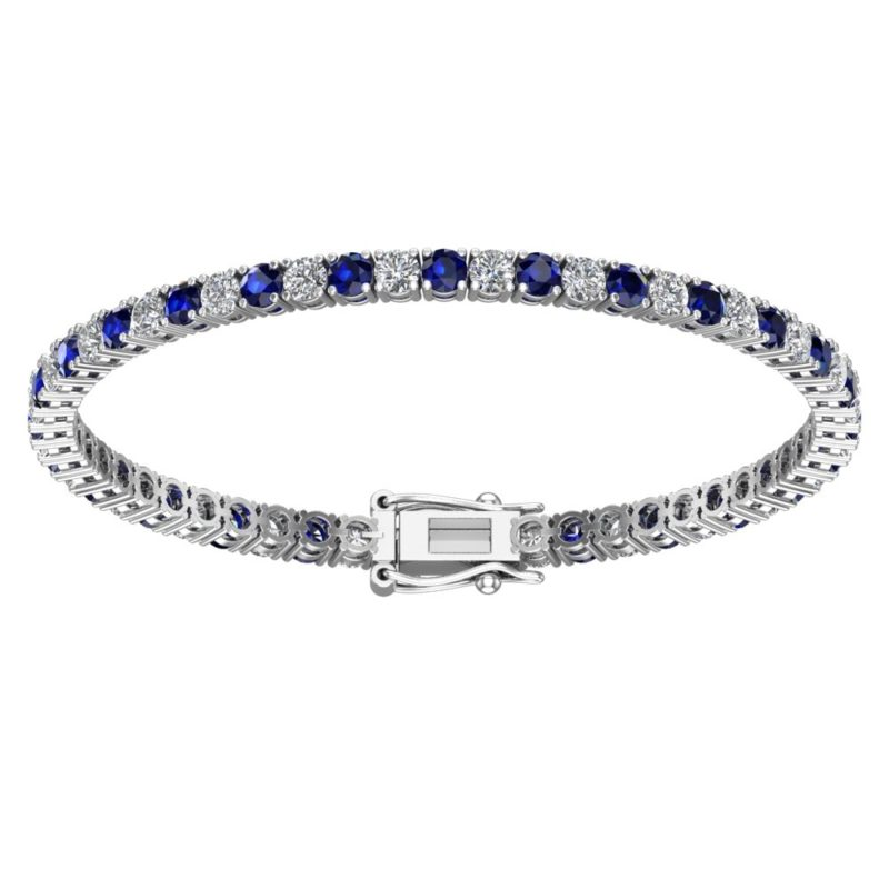 Bracelet with 3mm Round Blue Sapphires and White Topaz