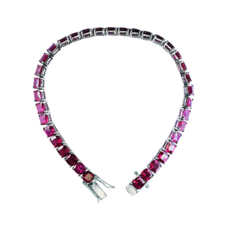 Lovely 5 mm cushion cut Created Ruby Tennis Bracelet for women