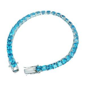 Firy-ice cushion cut 5mm Swiss Blue Topaz Tennis bracelet for women RSB-0024-5mm(CUS) Swiss blue topaz