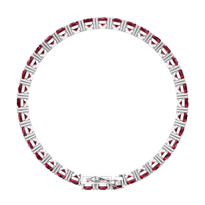Lovely 5mm Cushion Cut Created Ruby Tennis Bracelet for Women