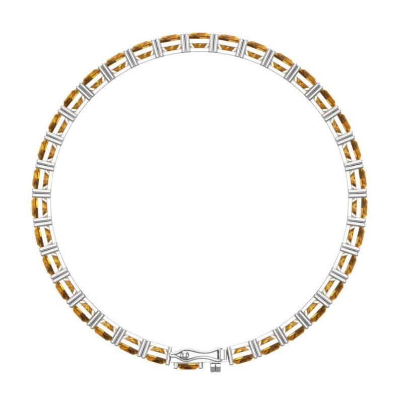 Sparkling Sterling Silver 5mm Citrine Gemstone Cushion Cut Tennis Bracelet rsb 0025