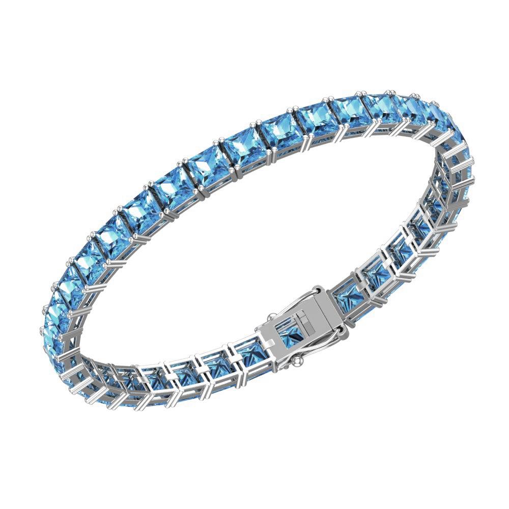 Cushion Cut 5mm Natural Swiss Blue Topaz Tennis Bracelet For Women