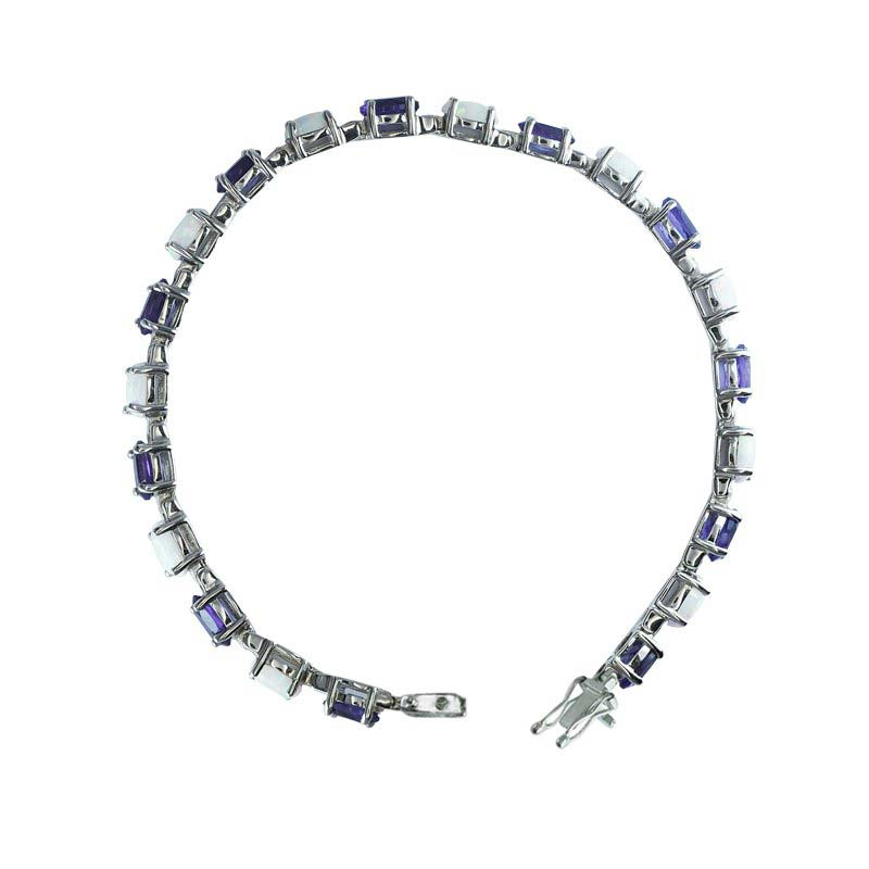 Alternating stone Tennis bracelet with 6x4 mm Oval-shaped Amethyst and Created Opal